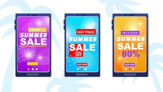 Summer sale discount hot price temporada end banner set