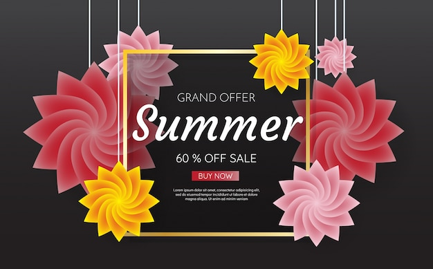 Summer sale template banner vector background