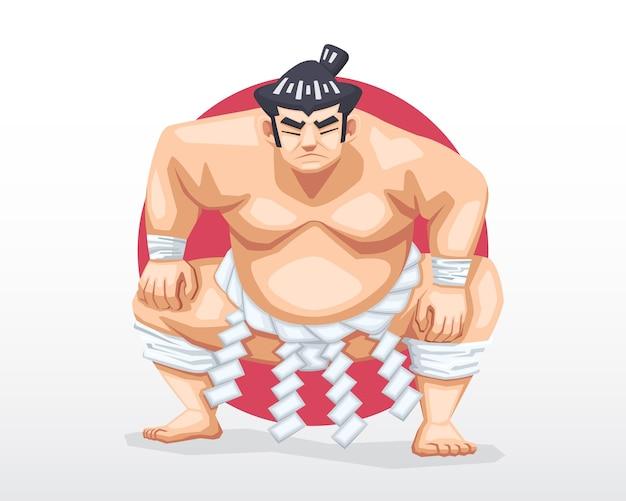 Sumô com rosto sério em pé e agachado com um círculo vermelho como ilustração de fundo