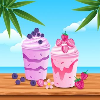 Sumo de fruta delicioso no verão