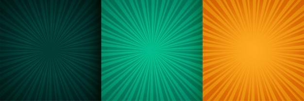 Sun burst zoom raios fundo conjunto de três