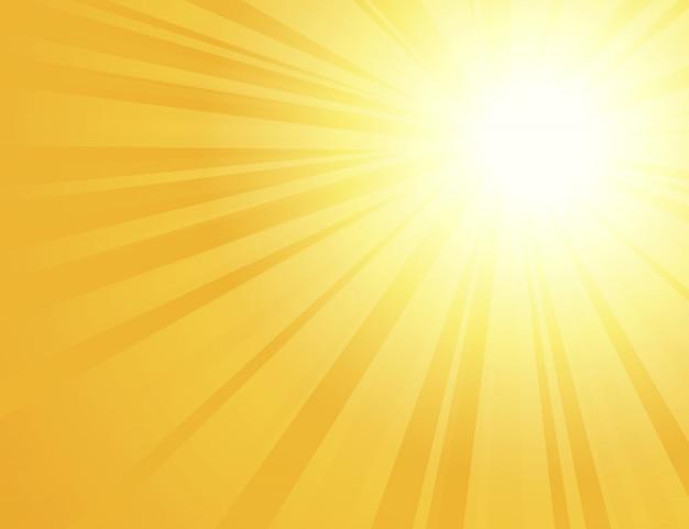 Sun irradia com raios de sol em um fundo alaranjado, fundo amarelo brilhante da explosão de cor, nascer do sol, linhas redondas retros amarelas, starburst, luz solar do verão da explosão, ilustração ,.