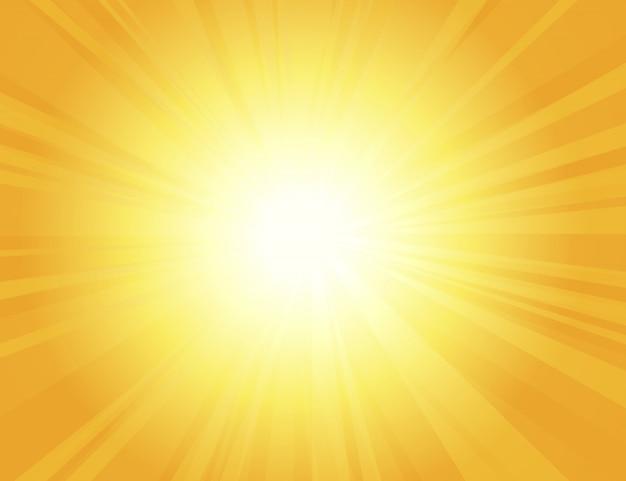 Sun irradia com raios de sol em um fundo alaranjado, fundo amarelo brilhante da explosão de cor, nascer do sol, linhas redondas retros amarelas, starburst, luz solar do verão da explosão ,.
