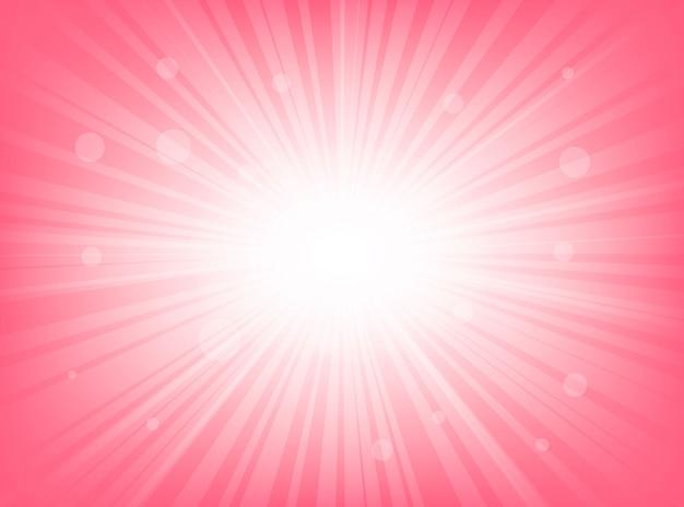 Sunburst abstrato rosa brilhante com fundos de linhas radiais