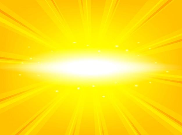 Sunburst amarelo brilhante com raios brilhantes de luz abstrato