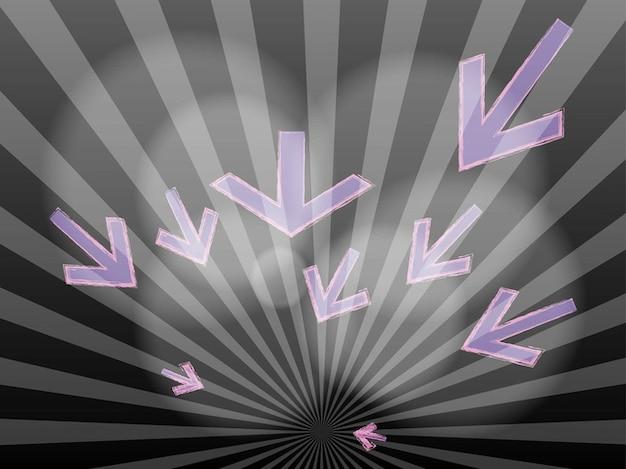 Sunburst cinza com setas roxas