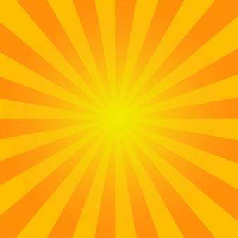 Sunburst de verão. fundo brilhante laranja raios fundo