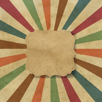 Sunburst fundo antigo com etiqueta