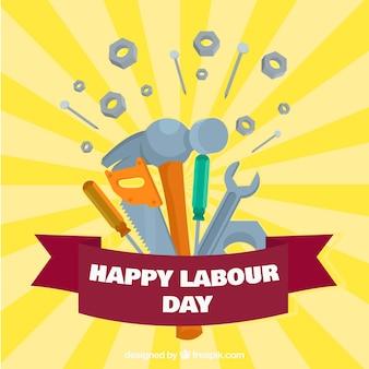 Sunburst, fundo, ferramentas, trabalhador, dia