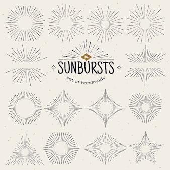 Sunburst geométrico desenhado à mão, raios de sol em diferentes formas.