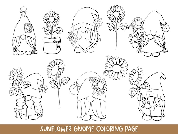 Sunflower gnomes doodle sunflower gnome coloring page
