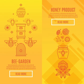 Sunny set banners produto de mel.