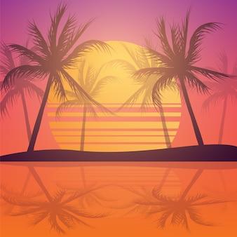 Sunset férias com palmeiras tropicais