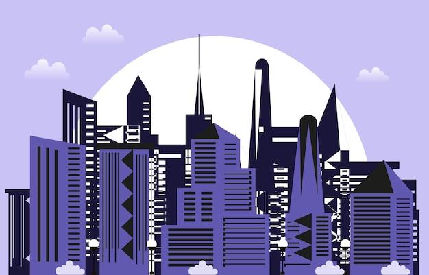 Sunset modern city skyscraper building cityscape skyline ilustração