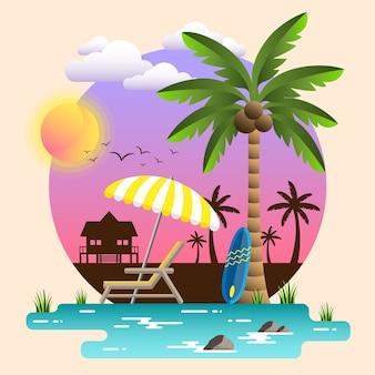 Sunset summer beach