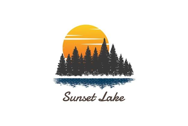 Sunset sunrise pine cedar spruce conifer larch cypress evergreen fir trees forest com lake river creek logo design vector