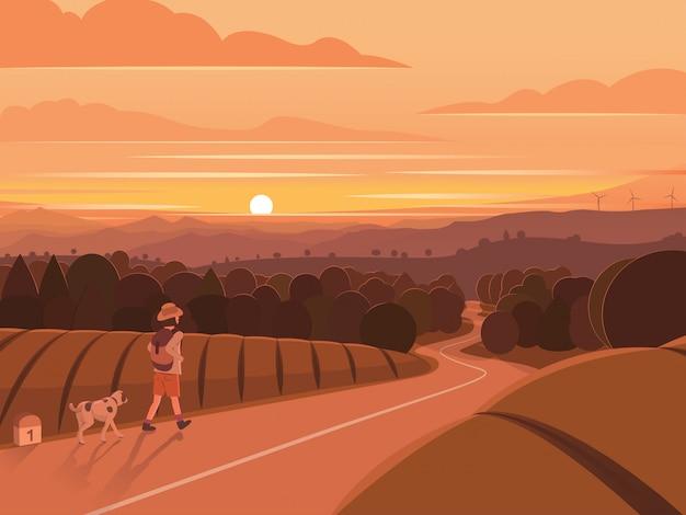 Sunset walking traveler landscape