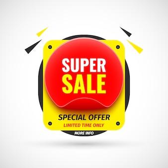 Super banner de venda. adesivo ilustração. Vetor Premium