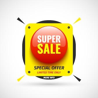 Super banner de venda. botão redondo vermelho. ilustração.
