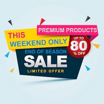 Super banner de venda. grande venda, liberação até 80% de desconto. design de modelo de banner de venda