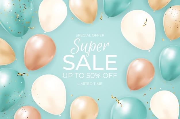 Super banner de venda por tempo limitado com balões, fita dourada e confetes.