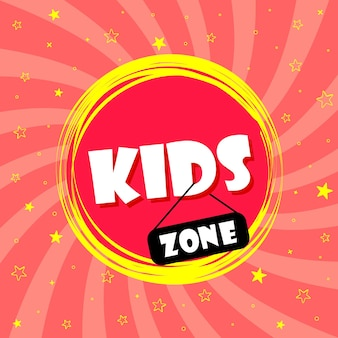 Super banner para área infantil em estilo cartoon, com fundo e asteriscos. local e área para jogos e diversão. cartaz para decoração da sala de jogos. ilustração vetorial.