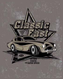 Super carro clássico, ilustração de carro super clássico