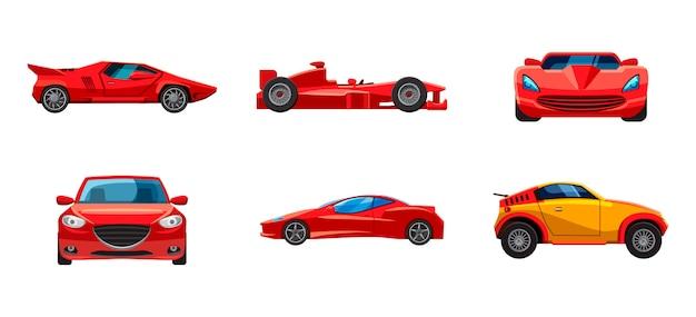 Super carro definido. caricatura, jogo, de, super, car