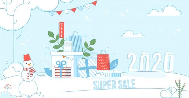Super cartaz de venda com inverno e férias design
