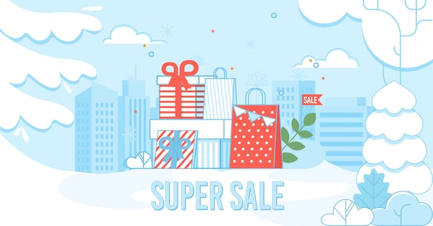 Super cartaz de venda com sacos de compras na paisagem urbana