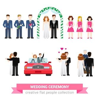 Super casamento cerimônia casamento estilo plano conjunto de pessoas recém-casados esposa marido noiva noivo dança melhor homem padrinho bridesman inaugurar lua de mel coleção de ilustração conceitual criativa