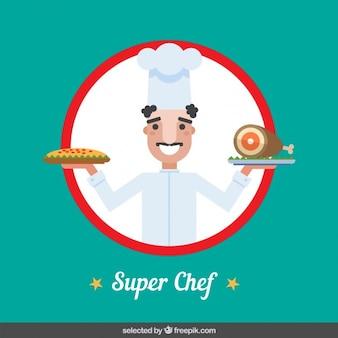 Super chef em estilo design plano