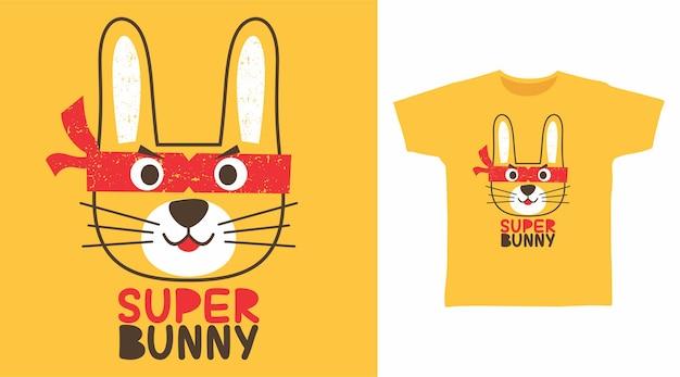 Super coelhinho fofo para design de camiseta