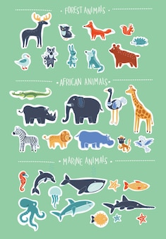 Super conjunto de desenhos animados bonitos de animais sorridentes