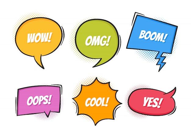Super conjunto retrô discurso em quadrinhos colorido bolhas com sombras de meio-tom em fundo branco. texto da expressão oops, sim, omg, lança, legal, wow. estilo retro do pop art