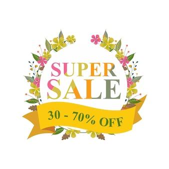 Super desconto de venda off floral grinalda banner