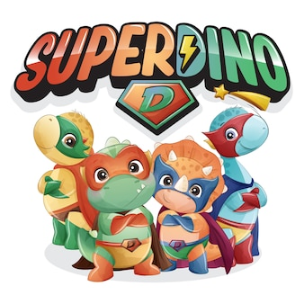 Super dinossauro fofo com ilustração em aquarela