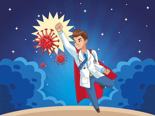 Super doutor com manto de herói vs covid19