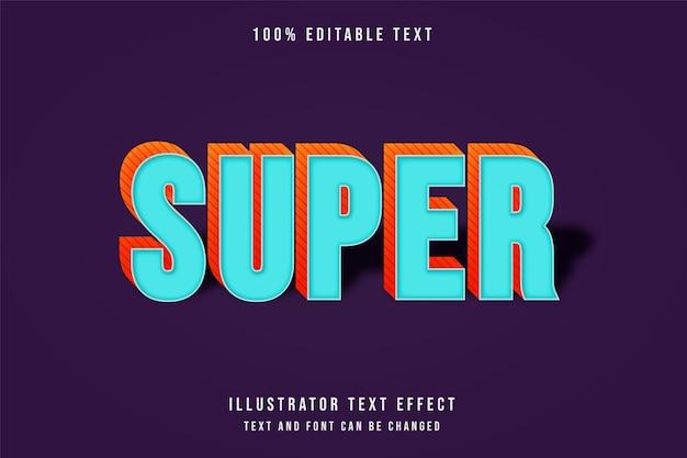 Super, efeito de texto editável em 3d estilo gradação azul e laranja