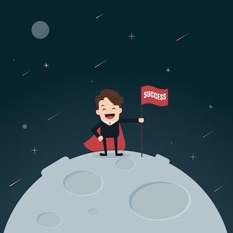 Super empresário colocando bandeira de sucesso na lua.