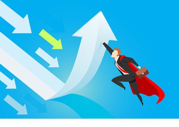 Super empresário mudando de direção. ilustração do conceito de negócio