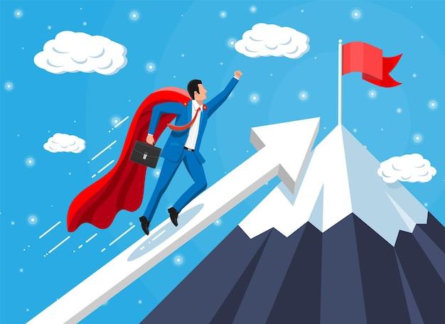 Super empresário na escada do gráfico de montanha com gravata e pasta acenando. definição de metas. objetivo inteligente. conceito de alvo de negócios. realização e sucesso. ilustração vetorial em estilo simples
