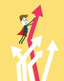 Super empresário traz crescimento de gráfico para cima. caractere de design plano. ilustração vetorial