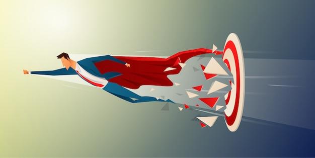 Super empresário voando e quebrando alvo tiro com arco para vetor de sucesso. super-herói de negócios correndo na seta para o alvo, objetivo do conceito de negócio e sucesso.