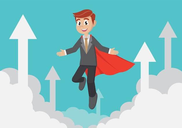 Super empresário voando no céu com as setas.