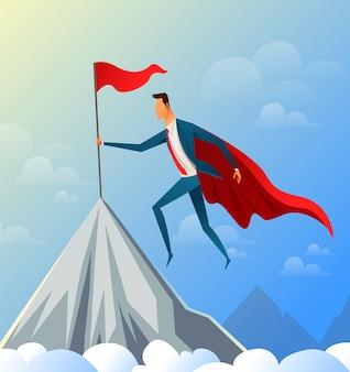 Super empresário voando no topo da montanha com bandeira de sucesso. ilustração