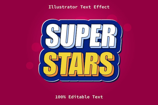 Super estrelas com efeito de texto editável de estilo de jogo moderno