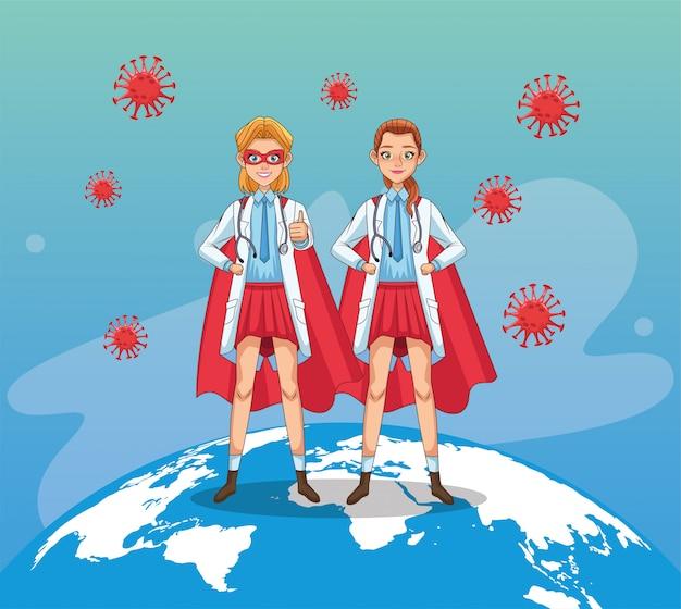Super femininas médicos com capa de herói vs covid19 vector design ilustração