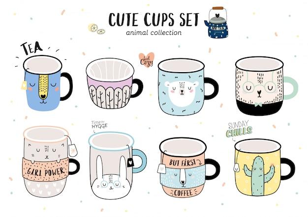 Super fofo conjunto de ilustração engraçada xícaras de café. ilustração de animais dos desenhos animados. isolado no branco