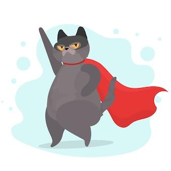 Super gata em uma máscara e com uma tampa vermelha. super-herói de gato engraçado com um olhar sério. adesivo positivo.